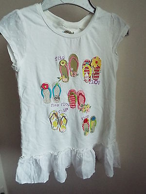 Girl's short sleeved long line top shoe/flip flop appliques age 6-7 years NEXT