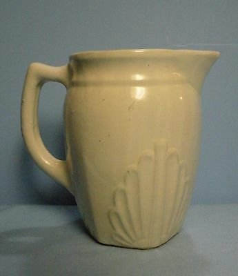 """Western Stoneware White Pitcher . Shell Style . 5""""T"""