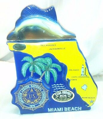 Ezra Brooks 1974 American Legion Convention Miami Dolphin Swordfish Decanter