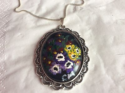 Wearable Art. Hand Painted Pendant. Wild Flowers Of Ireland. Unique Gift.