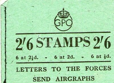 Great Britain KGVI:2/6d GPO Booklet, 13 Stamps, March 1945.