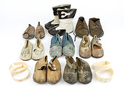 Antique Baby Shoes - LOT 8 Pair - Early 1900's - Includes Antique Blanket Clips
