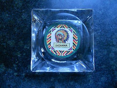 Vintage Glass Ashtray Souvenir From Indiana, American Indian Graphics