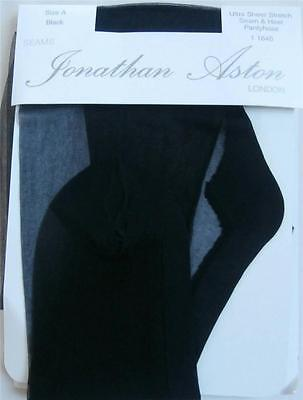 BNIP Vintage 1990's Jonathan Aston Seamed Tights Black Size A Small (Petite)