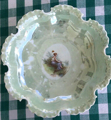 Antique Hand Painted Rosenthal Girl Sitting Portrait Bowlsigned Scalloped