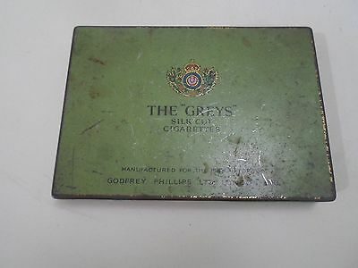 "Collectable Old Tin Advertising The ""Greys"" Silk Cut Cigarettes Godfrey Phillips"