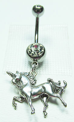 Belly Ring Unicorn in 925 Sterling Silver