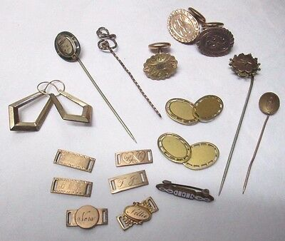 Mixed Lot Of Antique Victorian Gold Filled Jewelry Forget Me Not Cuff Links