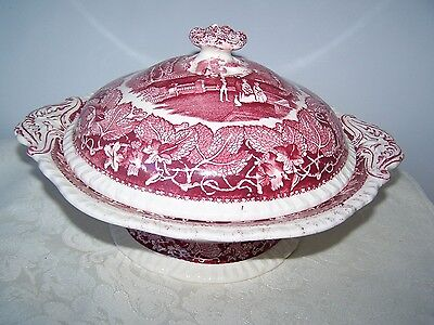 Masons / Mason's Pink / Red Vista  11'' Round Footed Covered Casserole Bowl