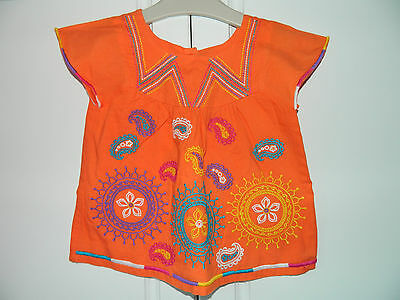 Girl's Orange Embroidered Tribal Tunic Top age 3 Years