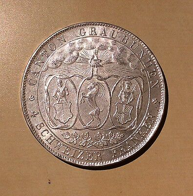 Switzerland 1842 Four Francs Graubunden BU