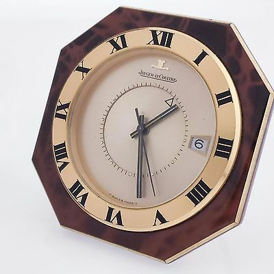 1980's Vintage Rare Jaeger-Le Coultre Memovox Swiss Travel Alarm Clock with Date