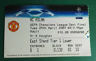 2007 European Cup Semi Final - Match Ticket - Manchester United V Ac Milan