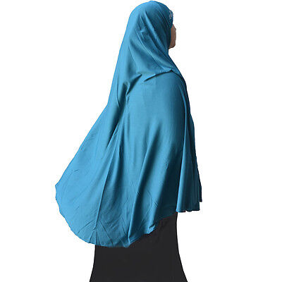 "TURQUOISE Hayaa Long KHIMAR 45"" HIJAB with Rhinestone USA Seller"