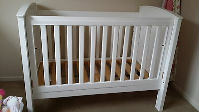 White Boori Cot, Converts to Toddler Bed + Mattress