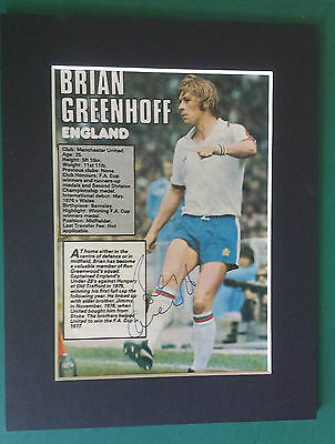 1977 Brian Greenhoff Manchester United & England -  Signed-Auto Mounted Picture