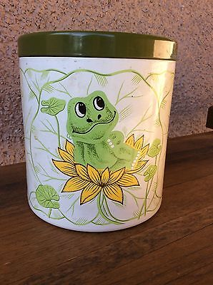 Vintage Enamel Neil The Frog Cookie Jar Canister From 1978 - Sear Roebuck and Co