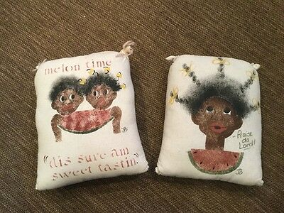 Lot Of 2 Black Americana Painted/Stenciled Pillows-New