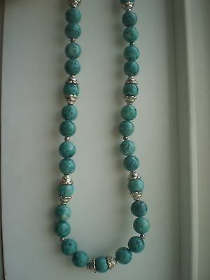 Handcrafted  Marbled Green & Tibetan Silver  Necklace  (Genuine Stones)