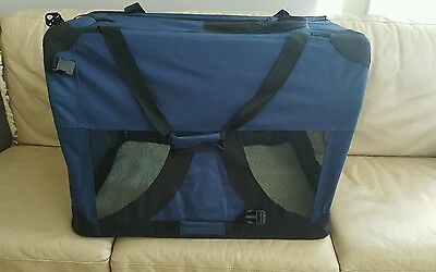 Portable Pet Cat Dog Soft Travel Crate Carrier Cage, Washable, Dark Blue, Large