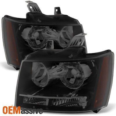 2007-2013 Chevy Avalanche Suburban Tahoe Black Smoked Headlights Left+Right Pair