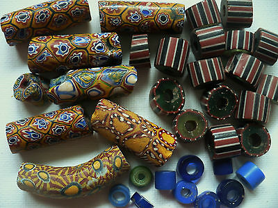 35 Antique Glass African Trade Beads Venetian  Chevron Elbow Russian Blues