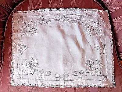 Antique French Estate White Padded Satin Stitch Embroidery Boudoir Pillow Sham