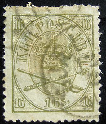MAKE AN OFFER - DENMARK - Sc#15 – 16s - OLIVE GREEN – 1864 – USED – PF CERTIFIED