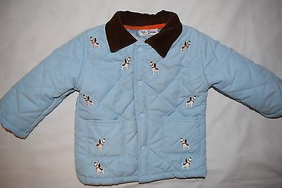 Infant Baby Boys Blue Quilted Jacket Dog Embroidery Size 6/9 Months EUC!!  CUTE!