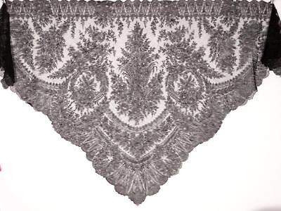 """Huge Antique 1800s Black Chantilly Lace Shawl 107"""" x 54"""" Triangle Floral"""