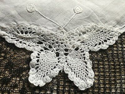 Vintage LINEN HANDKERCHIEF - Hand  EMBROIDERED Crocheted BUTTERFLY Corner
