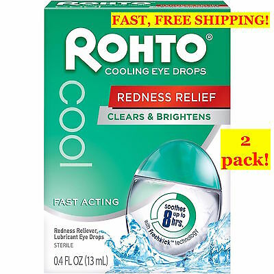 2 PACK! ROHTO Cooling EYE Drops COOL .4oz/13ml CLEAR, COOL REDNESS RELIEF  Japan