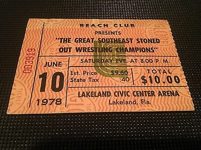 1978 Rolling Stones Concert Ticket Stub Lakeland Stoned Out Wrestling Champions