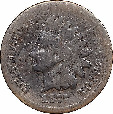 1877 Indian Head Cent, AG Details w/ Strong Date, Guaranteed Genuine