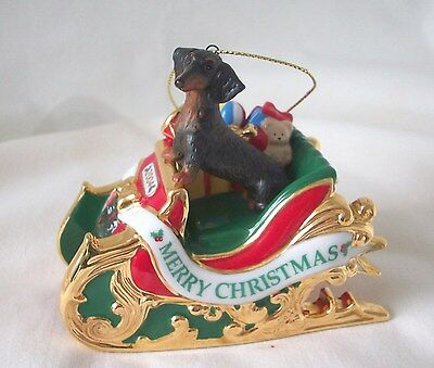 """2004 DANBURY MINT DACHSHUND """" DELIVERY """"  CHRISTMAS ORNAMENT 1st IN COLLECTION"""