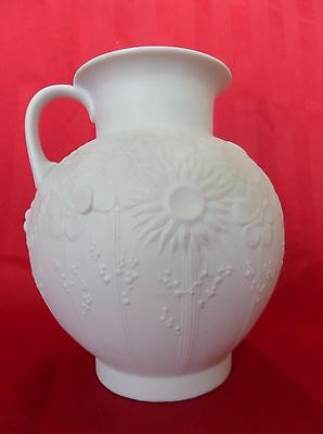1970's White Floral Vase Jug From Kaiser, West Germany