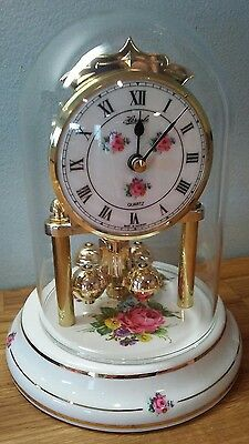 Hermle Rose Glass Dome Clock Floral White Gold Works