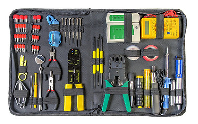 Computer Repair Tool Kit 66 Piece Electronics Set w/ Network Tester & Mulimeter