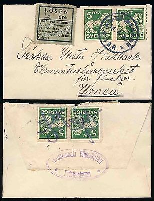 SWEDEN MINIATURE ENVELOPE POSTAGE DUE LOSEN LABEL to UMEA 1937