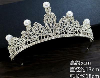Wedding Bridal Crystal Pearl Queen Silver Crown Tiara Headbands Hair Accessories