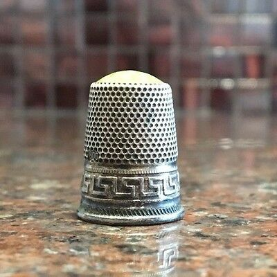Antique Thimble Marked 800 With Green Jade Head