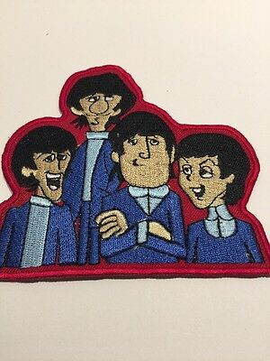BEATLES Cartoon Likeness Group Embroidered Iron on/Sew On PATCH  New