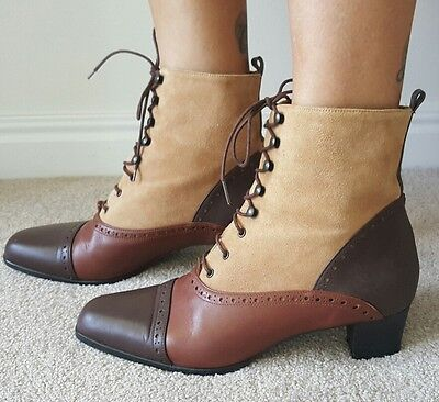 Vintage Leather lace up boots Made in Spain