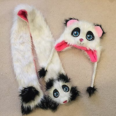 Justice Panda Bear Hat and Scarf with Hand Warmer Set 2 Pieces - So CUTE!  NEW