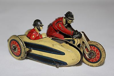 Antique Early SFA SIDECAR MOTORCYCLE WIND UP PENNY TOY TIN LITHO No Tippco Bing