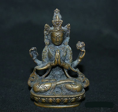 Chinese Antiques Old Bronze Copper Statue Four Arm Kwan-yin Buddha sculpture