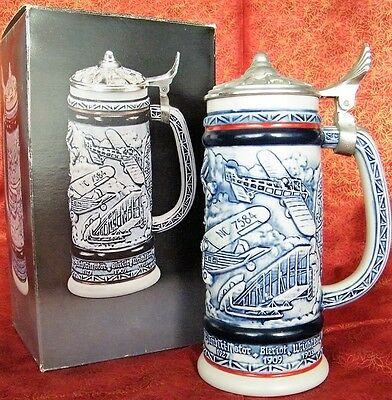 Flying Classics Ceramic with Pewter Lid Beer Stein, 1982 - Boxed