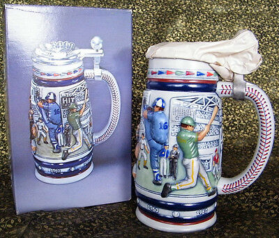 Baseball Ceramic with Pewter Lid Beer Stein, 1985 - Boxed