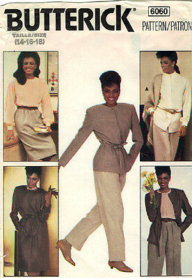 Butterick Pattern 6060 - Misses Jacket-Skirt-Pants-Blouse - Sizes: 14-16-18