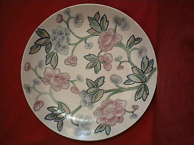 Beautiful Hand Painted H.f.p. Macau Decorative Porcelain Floral Chinese Plate